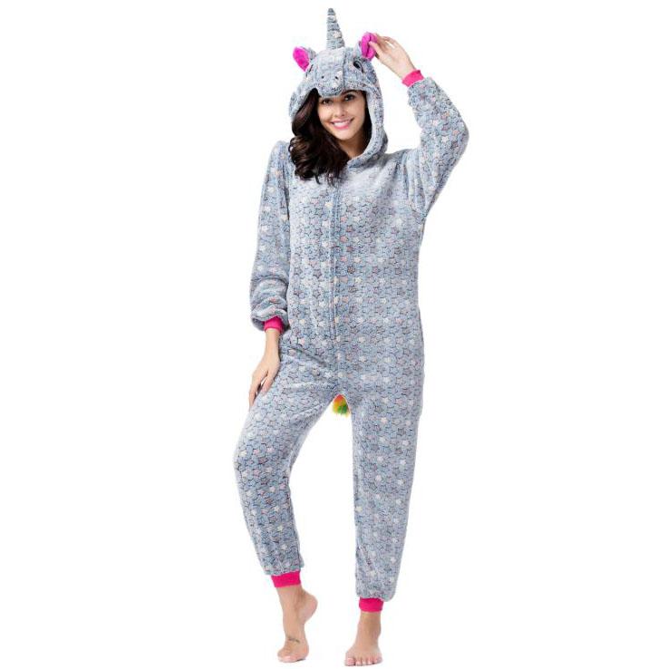 Пижама Кигуруми Единорог Звездный Серый