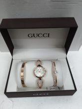 Набор женский: Часы №3 + 2 браслета GUCCI