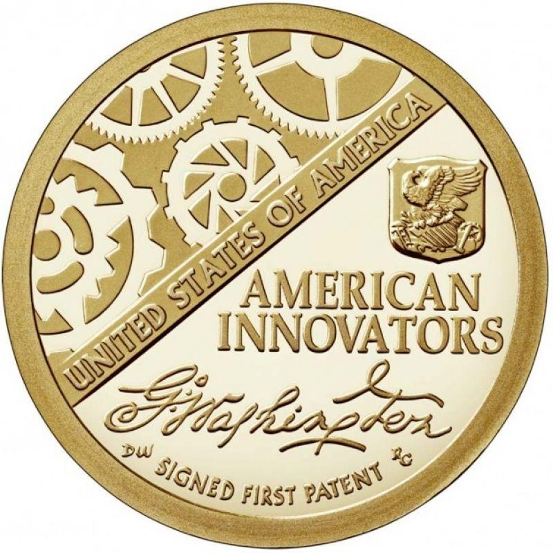 """1 доллар 2018г. Американские инновации """"Первый патент (Signed First Patent)"""""""