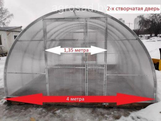 Теплица Сибирская двустворчатая - 8 м (труба 40х20, шаг 0,67 метра)
