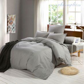 Комплект постельного белья однотонный Серый