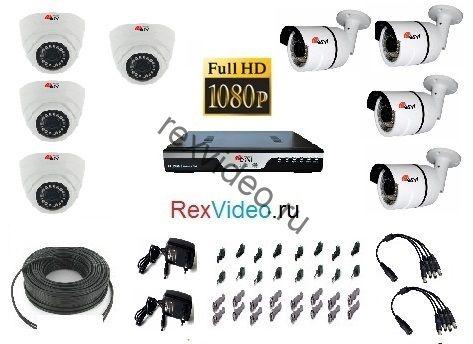 Комплект на 8 камер Full HD-1080p для улицы и помещения + 8-канальный видеорегистратор
