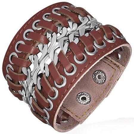Кожаный браслет со сталью