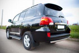 Защита заднего бампера 75х42 мм овальная (TLCZ-000516) для Toyota Land Cruiser 200 2012