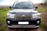 Защита переднего бампера 76/75х42 мм двойная овальная (TLCZ-000514) для Toyota Land Cruiser 200 2012