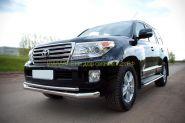 Защита переднего бампера 76х42 мм двойная (TLCZ-000513) для Toyota Land Cruiser 200 2012