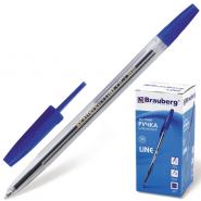Ручка шар синяя BRAUBERG Line корп прозр 1мм/50/1000 141097