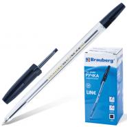 Ручка шар чёрная BRAUBERG Line 1мм корпус прозр /50 141098