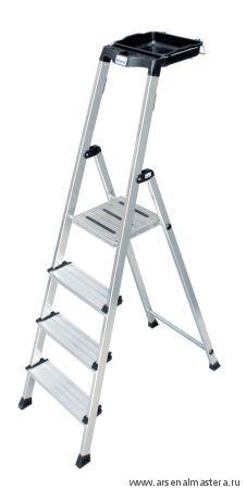Односторонняя алюминиевая лестница - стремянка с универсальной мульти-грип полкой Krause SECURY, 6 ступеней 100 мм