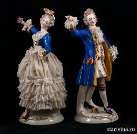 Пара в синих костюмах, кружевная, Германия, Ackermann & Fritze, Германия, 1908-51 гг