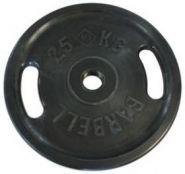Диск черный обрезиненный Два хвата MB Barbell Евро-классик 25кг (Д-51-мм)