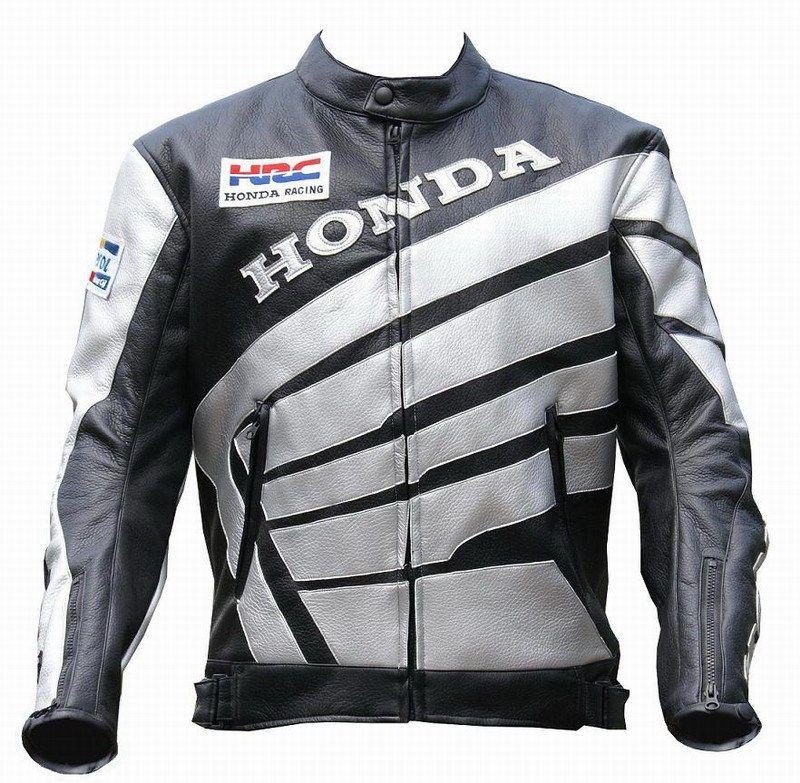 Мотокуртка PU Honda RC со встроенной защитой (черный-серебро)