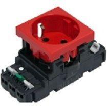 Розетка Legrand Mosaic DLP 2К+З красная с блокировкой с рамкой (арт.77421)