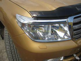 Хромированные накладки (Реснички) на переднею оптику для Toyota Land Cruiser 200 2008
