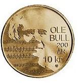 200 лет со дня рождения Оле Булл 10 крон Норвегия  2010