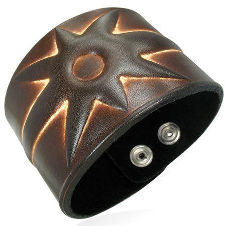 Кожаный браслет широкий
