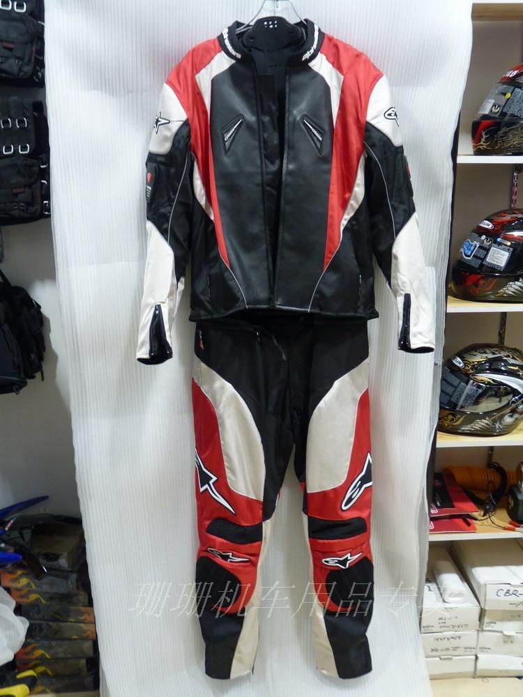 Мотокуртка и мотоштаны Alpinestars moto GP (комплект) красный/черный