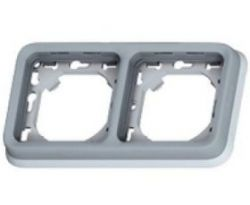 Рамка Legrand Plexo IP55 2 поста,горизонтальная+суппорт,серый (арт.69683)