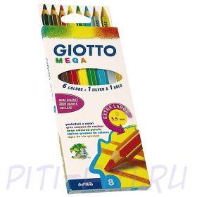 Giotto Mega. Карандаши цветные утолщённые, 8 цветов
