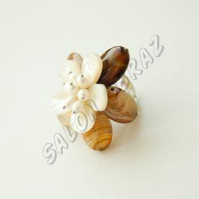 Кольцо сердолик, жемчуг КО-016