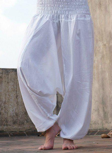 Белые штаны алладины (афгани) для йоги, Москва