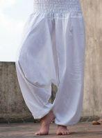 Белые штаны афгани для занятий йогой из Индии, интернет-магазин