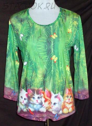 """Кофточка с рукавом """"Котята и бабочки в зелени"""" размер M (48)"""