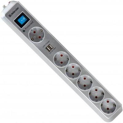 Сетевой фильтр DFS 505 5 м, 2 USB-порта, 6 розеток