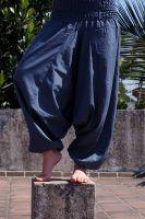 Синие штаны алладины, натуральный хлопок, купить в интернет-магазине