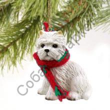 Вест хайленд вайт терьер новогоднее украшение «Теплый шарф»