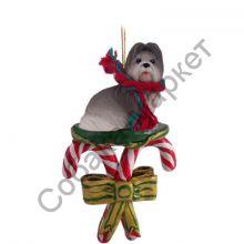 Ши-тцу новогоднее украшение «Леденцы на праздник»