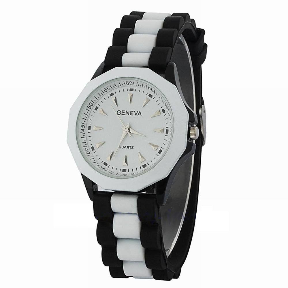 Черные с белым часы Geneva