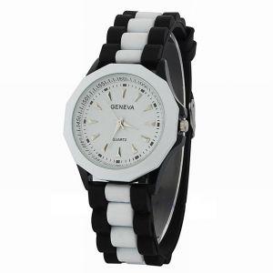 наручные часы Женева черные с белым