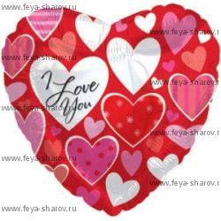 Шар фольгированный Маленькие сердечки 46 см