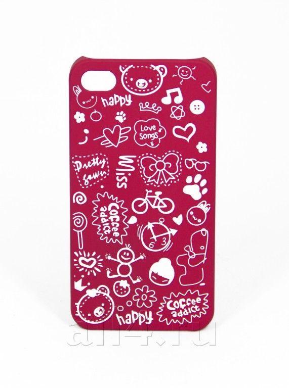 Чехол для iPhone 4/4s Happy малиновый
