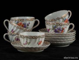 Чайный набор из 6 чашек с блюдцами, Nymphenburg, Германия, кон. 19 нач. - 20 века