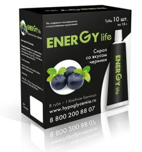 Сироп ENERGY LIFE ® Черника. В Тубе - 1 Хлебная Единица. 13.4 углеводов.  В упаковке 10 туб.