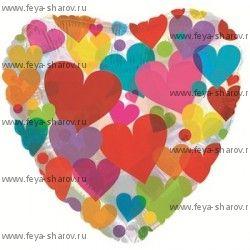 Шар фольгированный сердце с сердечками (прозрачное) 46 см
