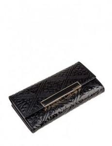 Чёрный лакированный кошелёк