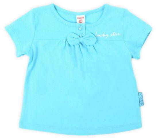 Бирюзовая блуза для девочки с бантиком