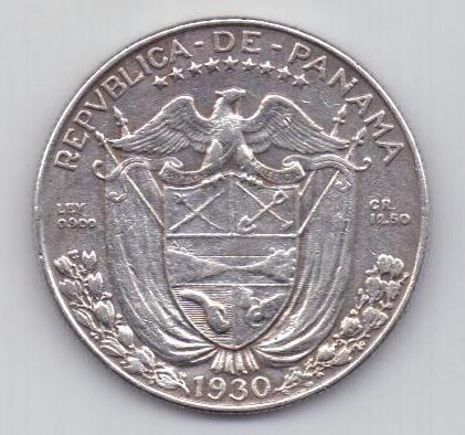 1/2 бальбоа 1930 г. редкий год. Панама