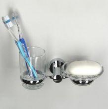 Держатель стакана и мыльницы WasserKRAFT Серия Donau K-9400 прозрачное стекло