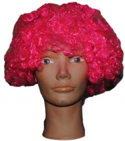 Парик короткий кудрявый розовый