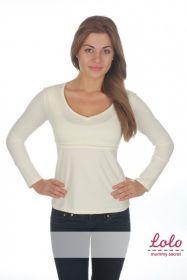 Блуза с V-образным вырезом Молочный