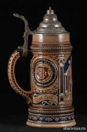 Старинная керамическая призовая пивная кружка крышкой, 0,5л производства Германия, ок.1900 г.