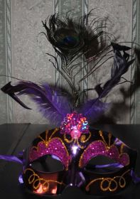 Маска карнавальная с павлиньим пером