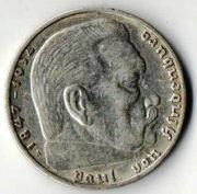 2 рейхс марки 1937 год. А. Серебро.