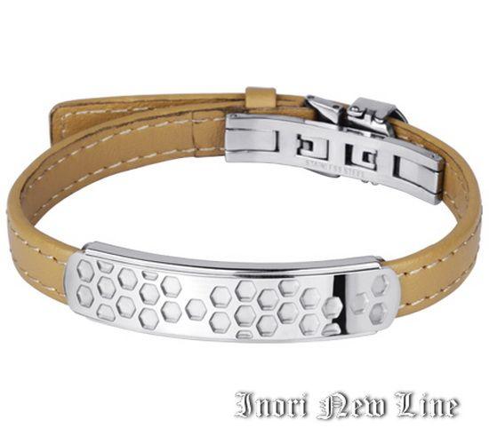 Кожаный браслет со стальной пластиной