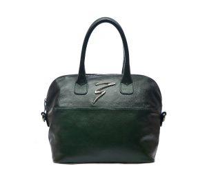 Тёмно-зелёная кожаная сумка