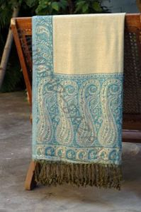Жёлто-голубой двухсторонний шарф